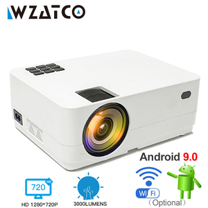 Image 2 - WZATCO HD 720P 150inch Portable Mini 3D LCD LED 4k Projector Android 9.0 WIFI Optional Home Theater Game Movie Cinema Proyector