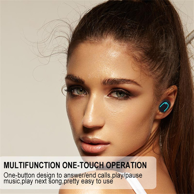 TEBAURRY True Wireless Buetooth Earphone 5.0 TWS Mini Wireless Earbuds Stereo  Headset with Charging box power bank for phone 4