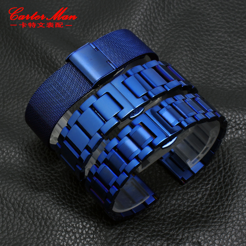 New Blue Stainless Steel Watchband Strap Metal Bracelet Strap 18mm 20mm 22mm Straight End For Men Women Fashion Watch
