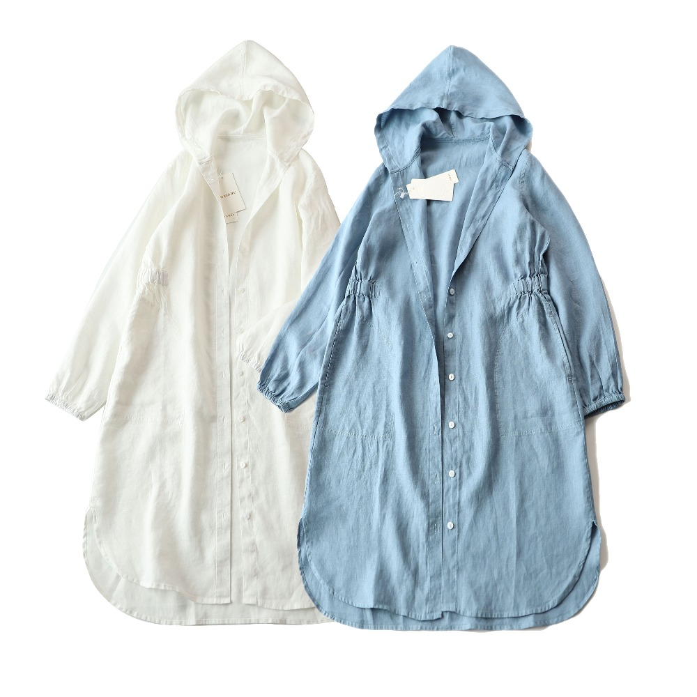 Spring Summer Women Loose Plus Size All-match Long Soft Comfortable Hooded Elastic Waist Water Washed Linen Coats   Trench