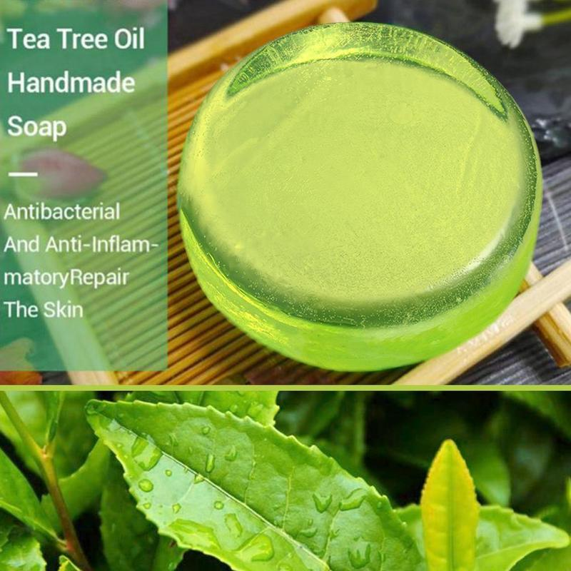 Natural Australian Tea Tree Oil Crystal Handmade Soap Moisturizing Oil Control Removal Blackhead Clean Skin Care Face Wash Soap