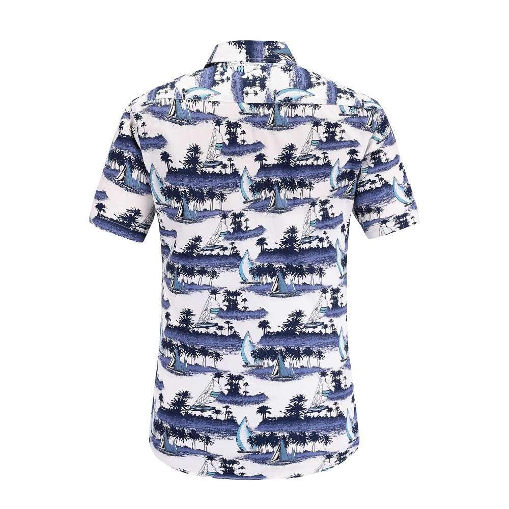 JeeToo лето печати мужской рубашки Новая мода Повседневное Гавайский футболка с цветочным принтом короткий рукав Для мужчин Одежда большого размера зауженные официальные