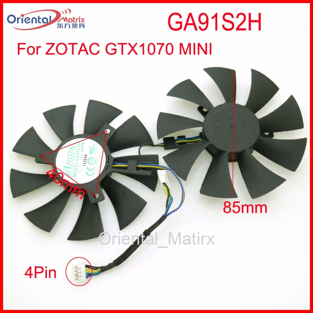 Free Shipping 2pcs/Lot GA91S2H 12V 0.35A 40*40*40mm 4Pin 85mm VGA Fan For ZOTAC GTX1070 MINI Graphics Card Cooler Cooling Fan