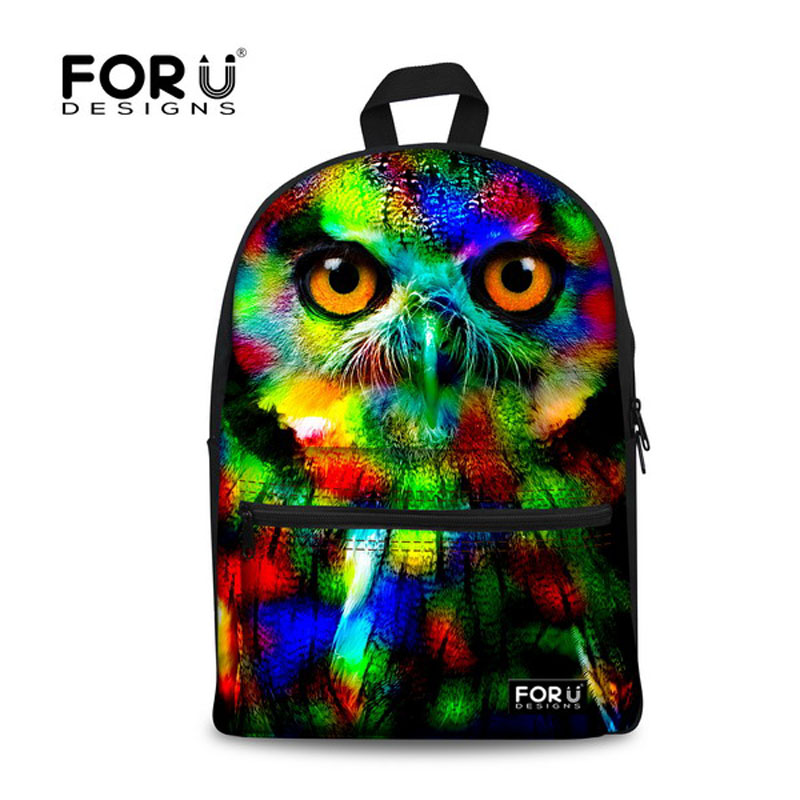 Fashion 2017 Colorful Women Owl Leopard Backpack 3D Animal Print Girls School Bagpack Female Ladies Tourism