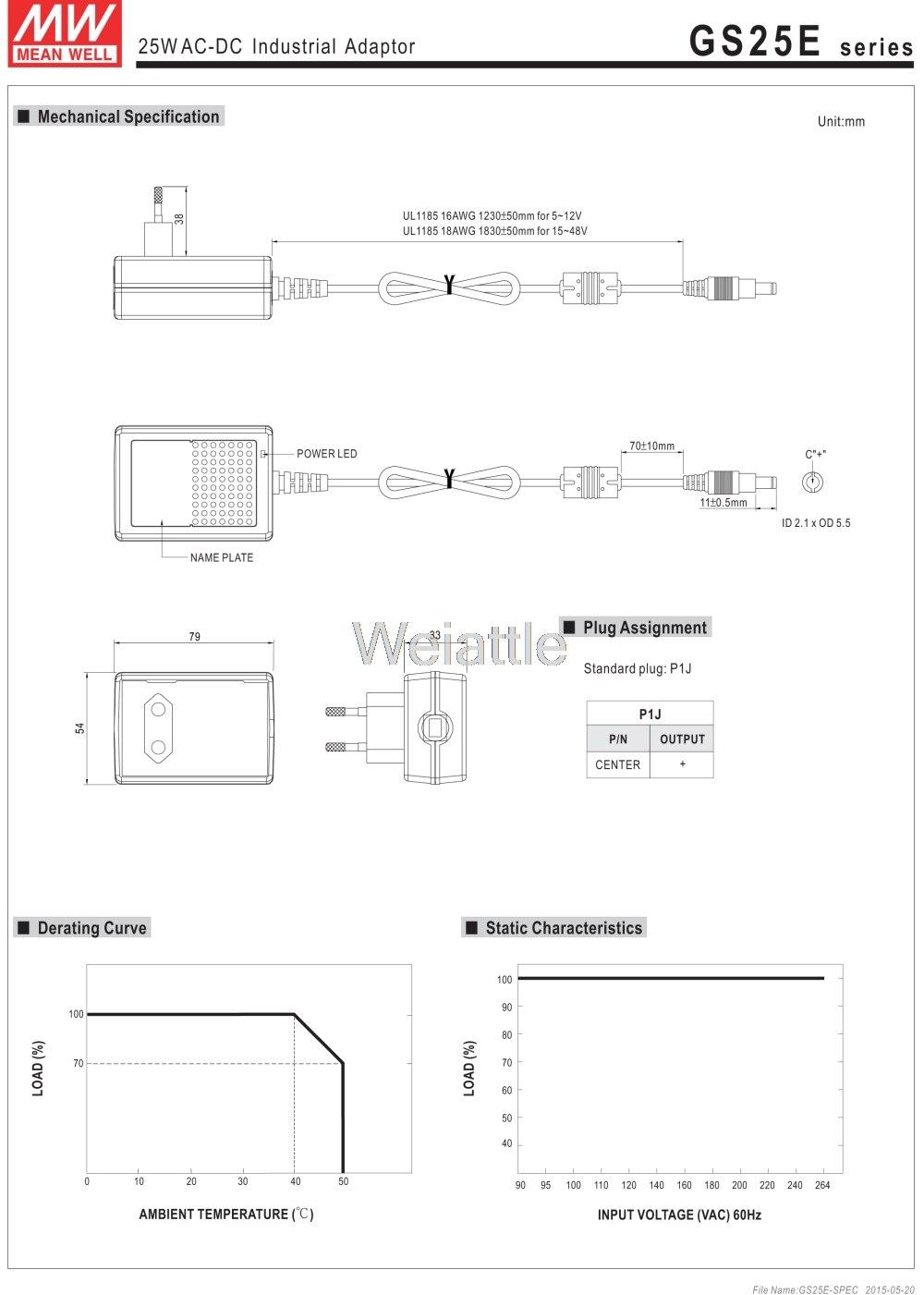 MW Mean Well GS18E12-P1J 12V 1.5A 18W AC-DC Green Industrial Adaptor