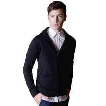 Fashion Sweatercoat Men Autumn Sweater V Neck Casual Sweaters Computer Knitted Solid Single Breasted Men'S Warm Sweater