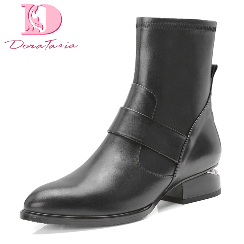 Doratasia 2018 Genuine Leather Large Size 34-42 Chunky Heels Ankle Boots Woman Shoes boots Platform Shoes Woman BootsDoratasia 2018 Genuine Leather Large Size 34-42 Chunky Heels Ankle Boots Woman Shoes boots Platform Shoes Woman Boots