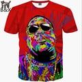2016 New fashion Men's T-shirt 3d Print Rapper Christopher Wallace Hip Hop 3d T shirt Summer Tops Tees