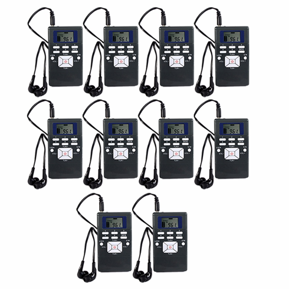 10Pcs TIVDIO DSP Mini Radio FM Stereo Portable Radio Receiver Digital Clock For Meeting Simultaneous Interpretation Y4305 anders portable professional wireless tour guide system for simultaneous large meeting 1 transmitter 10 receiver f4508a