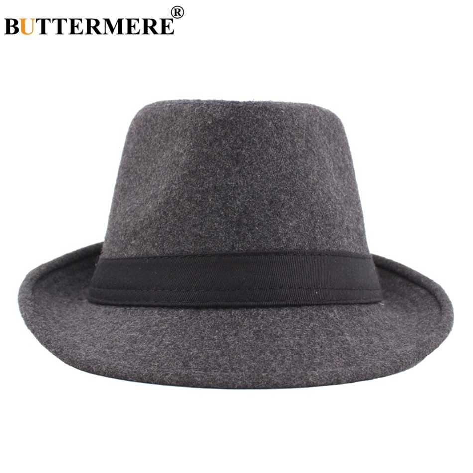 Sombrero Fedora de lana de BUTTERMERE para hombres Borgoña Vintage fieltro Floppy sombrero mujer invierno primavera Casual moda clásica Jazz sombreros