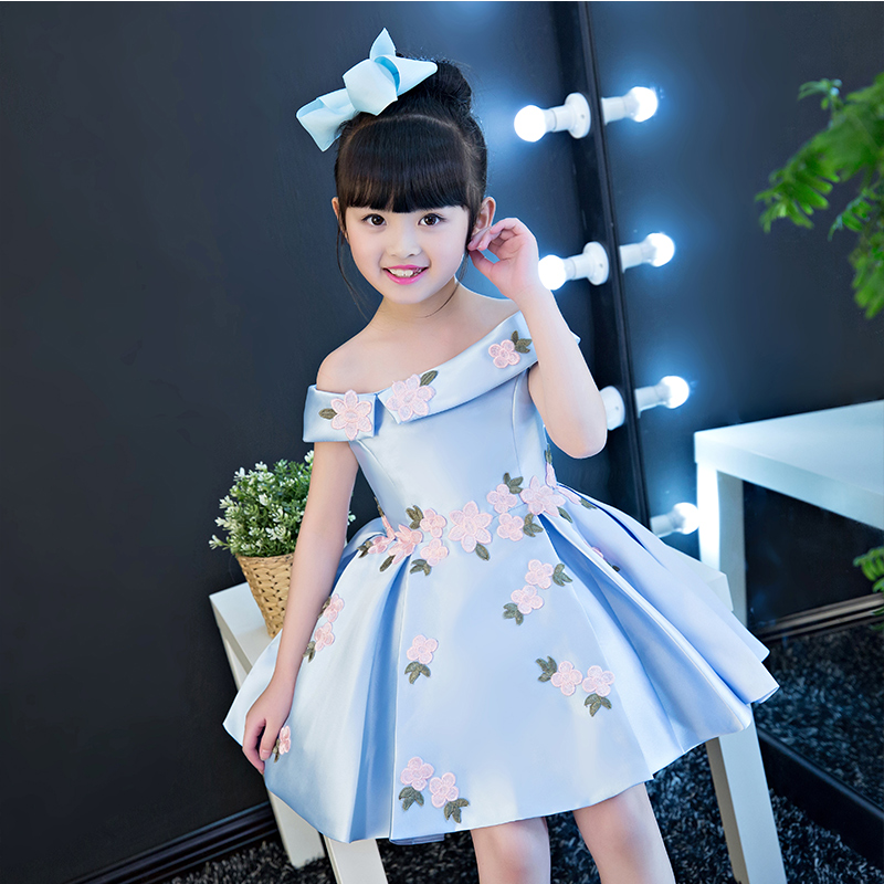 2017 New Korean Sweet Pink Blue Color Girls Princess Party Dress Children Kids Wedding Birthday Flowers Dress Pageant Clothes 2018 new korean sweet autumn summer children baby birthday wedding party prom dress kids girls pink color flowers pageant dress