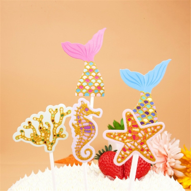 CRLEY 10sets 50pcs mermaid cake toppers kids baby shower cartoon ...