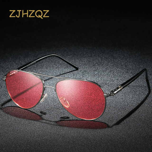 86429ac88d ZJHZQZ Mens Polarized Driving Fishing watching Sunglasses Men Brand  Designer Red Lens Night Vision Clarity Glasses Goggles