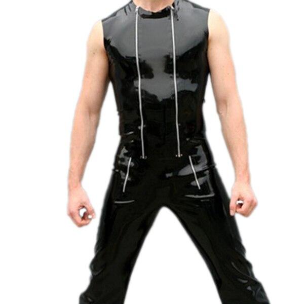 Gilet en caoutchouc Latex Double fermeture éclair manches de costume en Latex pour hommes Costumes Sexy en Latex
