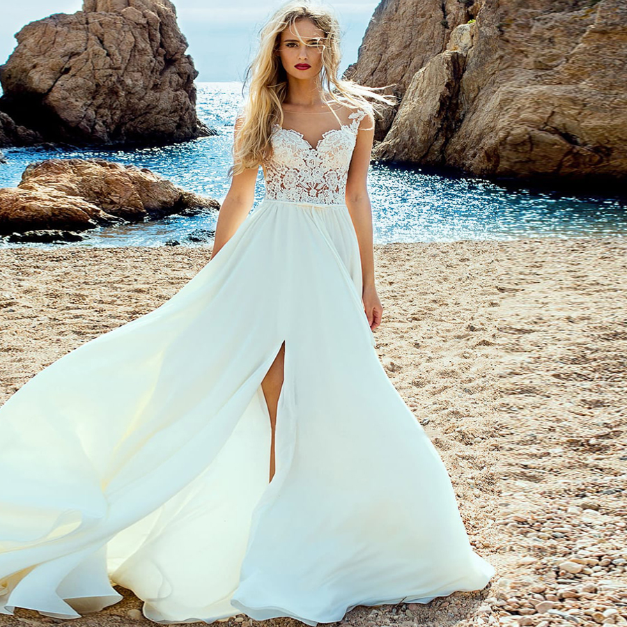 ADLN Beach Wedding Dress Cap Sleeve Boho Bridal Dresses 2019 Chiffon Princess Lace Chiffon Wedding Gown