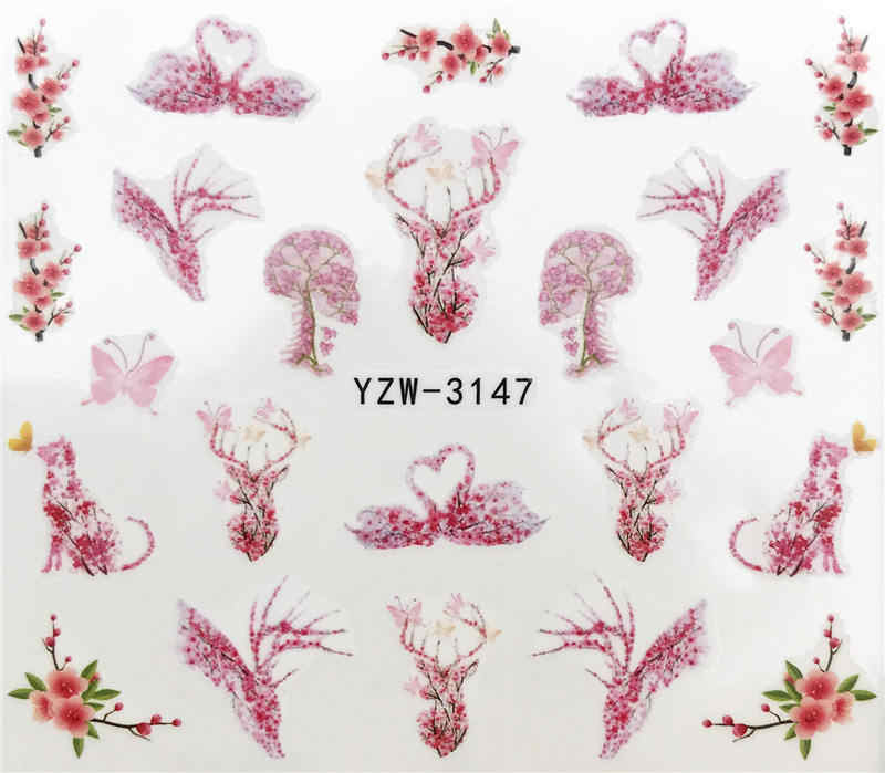 YZWLE 1PC Nail Stickers Animal Series Water Decal Animal Flower Plant Pattern 3D Manicure Sticker Nail Art Decoration