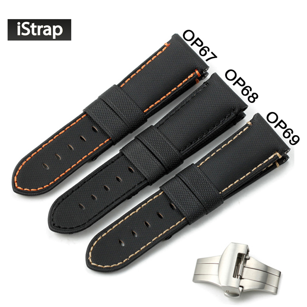 iStrap 24mm Watchband Kevlar Fabric Leather Watch Band Watch Strap Bracelet Belt For Panerai With 22mm Deployment Buckle Clasp 24mm handmade black red stitched genuine calf leather watch strap band for deployment buckle watchband strap for panerai pam