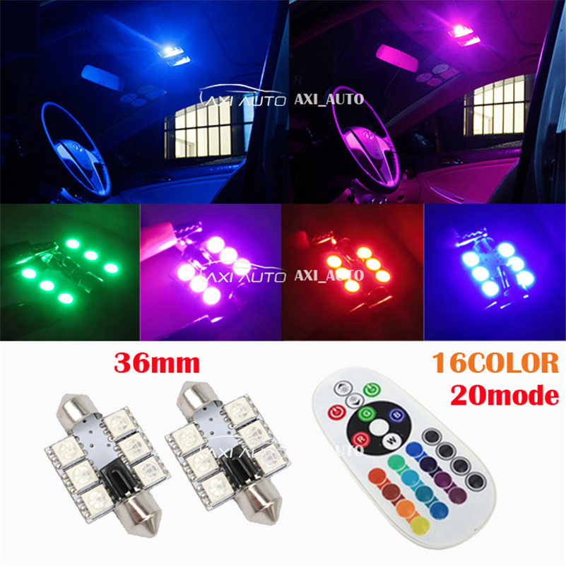 C5W Festoon RGB 2x6 LED Car Light 12V 1W Glow Interior Decorative Atmosphere Lamps 16 Colors Styling Inside  Light With Remote 2pcs 12v 31mm 36mm 39mm 41mm canbus led auto festoon light error free interior doom lamp car styling for volvo bmw audi benz