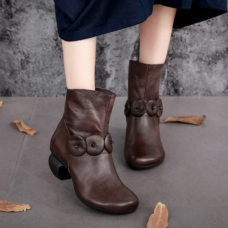 Original national trend vintage genuine leather boots small mushroom cowhide boots high heels 2016 new leather fall ankle boots