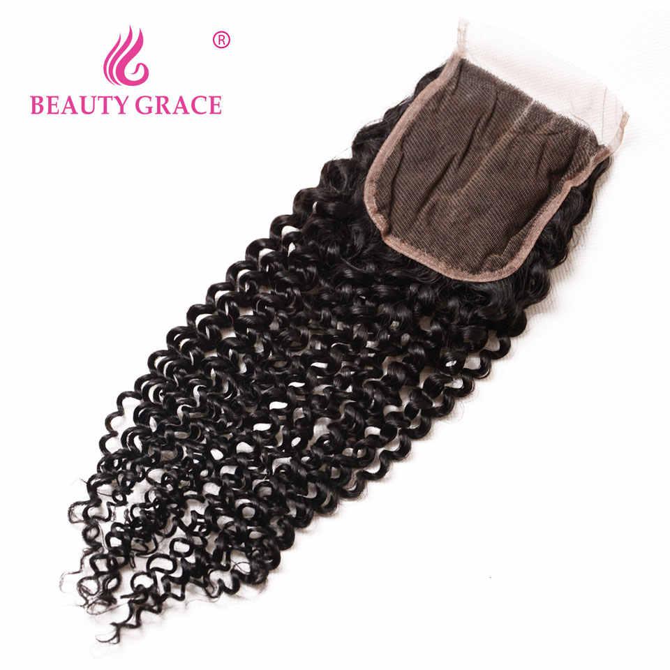 Красота Грация Связки малайзийских волос человеческие волосы пучки с закрытием не Реми пучки волнистых волос с Чехол Бесплатная доставка
