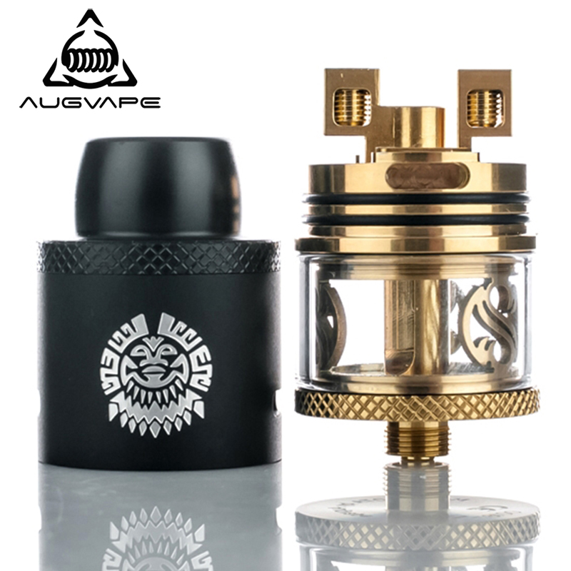 Augvape Merlin Atomizer RDTA Tank Vape 24mm 3.5ml Capacity Derlin Top Cap Drip Tip Vaporizer Electronic Cigarette Atomizer Tank replacement mt3 electronic cigarette atomizer heater cores 4pcs in packing