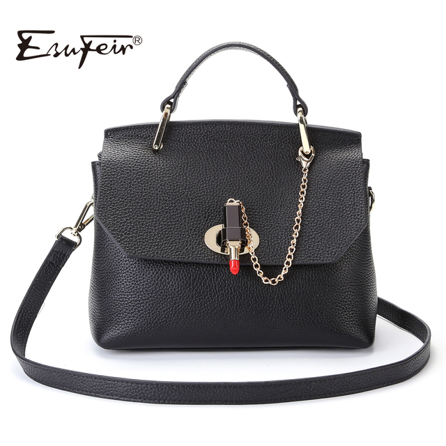 2017 ESUFEIR Fashion Famous Designer Brand Women Bag Genuine Leather Handbag Leather Top-handle Bag Fashion Women Shoulder Bag