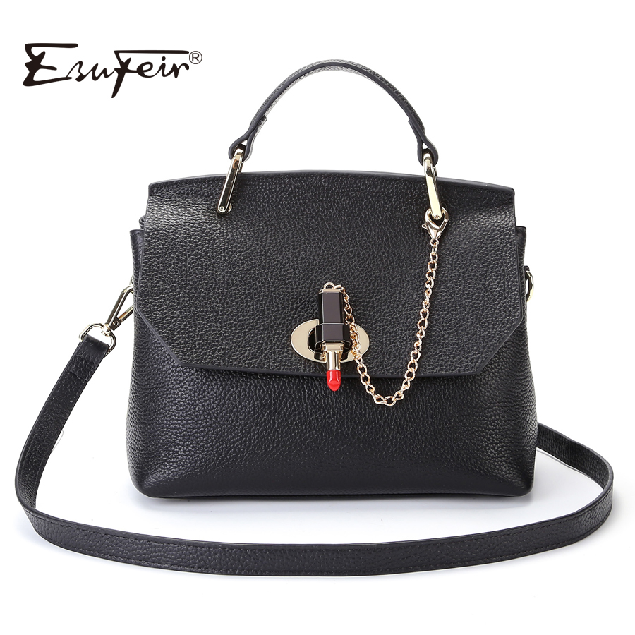 2018 ESUFEIR Fashion Famous Designer Brand Women Bag Genuine Leather Handbag Leather Top-handle Bag Fashion Women Shoulder Bag 2015 genuine leather women handbag new style shoulder bag famous brand lace women messenger bag fashion tote top handle bag