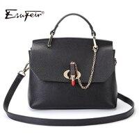 2017 ESUFEIR Fashion Famous Designer Brand Women Bag Genuine Leather Handbag Leather Top Handle Bag Fashion