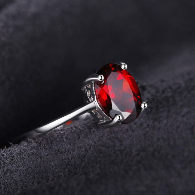 Pure Red Garnet Solitaire Ring For Women