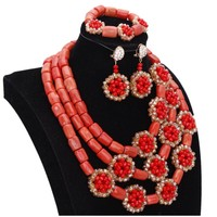 Dudo 100% Original Coral Necklace Beads Jewelry Set With Red Gold Crystal Handmade Flowers African Nigerian Beads Jewellery Set