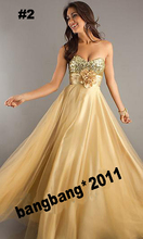 free shipping 2015 New Sexy handmade flower custom size Long Gold Tulle Bridesmaid sweetheart chiffon sequined Prom Dresses Gown