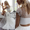 Sexy Beach Crop Top Wedding Dress With Short Sleeves Sheer Lace Two Piece Front Split 2017 Long Vestido De Noiva Bridal Gown
