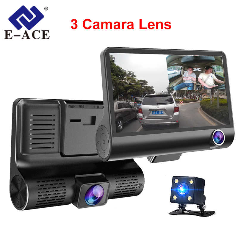 E-ACE جهاز تسجيل فيديو رقمي للسيارات 3 كاميرات عدسة 4.0 بوصة داش عدسة كاميرا مزدوجة مع كاميرا الرؤية الخلفية مسجل فيديو Dvrs السيارات Registrator داش كاميرا
