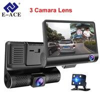 E ACE Car DVR 3 Cameras Lens 4.0 Inch Dash Camera Dual Lens With Rearview Camera Video Recorder Auto Registrator Dvrs Dash Cam