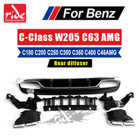 For Mercedes Bnez W205 AMG Style Rear Bumper Diffuser Lip 4 Outlet Endpipe Exhaust 2015 in C Class C180 C250 C300 Sport Edition