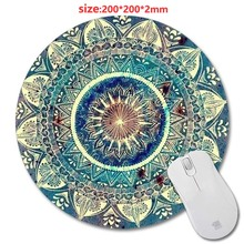 Professional Custom  Designed Mouse Pad With Mandala Pattern Fashion Design Circular Mousepad With Rubber 20cm by Mouse Pads