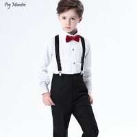 4pcs Children Primary School Class Chorus Performances Clothing Set Boys Dresses Bibs Uniforms Kids Shirrts Pants Strap Bowtie