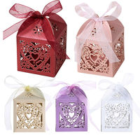 ASLT New Arrival High Quality 50Pcs Love Heart Laser Cut Candy Gift Boxes Wedding Party Free
