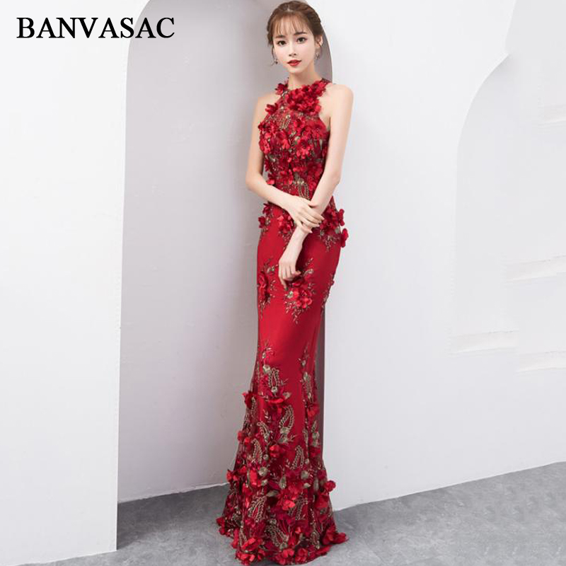 BANVASAC Flowers Appliques Halter Lace Mermaid Long Evening Dresses 2019 Party Off The Shoulder Open Back Prom Gowns
