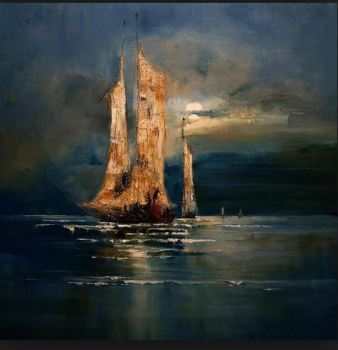 Modern Landscape Oil Painting on Canvas Seascape Wall Painting for Office Living Room Decoration Handpainted Art