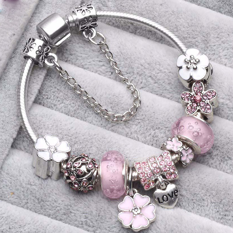 BAOPON Dropshipping Vintage Silver Color Charms Bracelets For Women DIY Crystal Beads Fine Bracelets Women Pulseira Jewelry