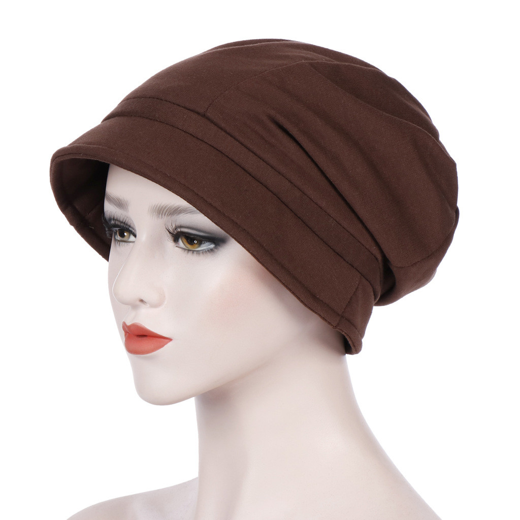 New Muslim Women Ruffle Cotton Turban Hat Scarf Bandanas Ruffle Cancer Chemo Beanie Turban Wrap Cap A426