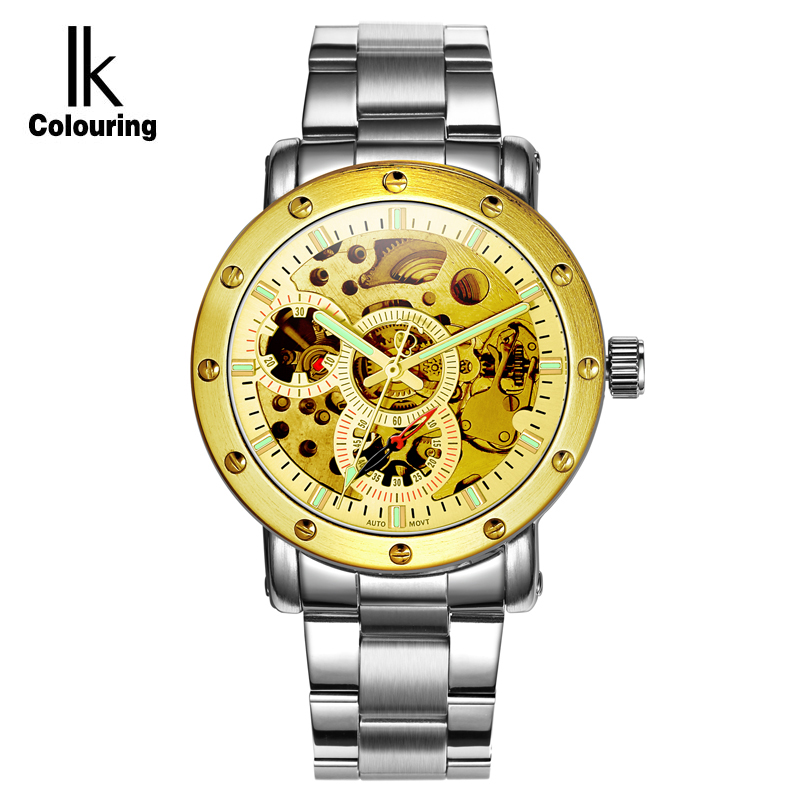 ФОТО IK Colouring Automatic SelfWind Movement Watch Men Luminous Hollow Dial Hardlex Business Watches relogio masculino reloj hombre