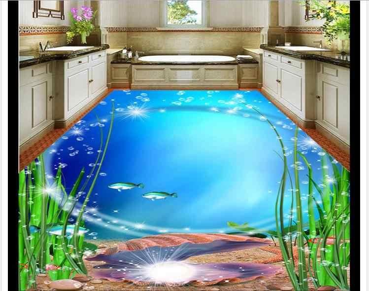 Papier peint de sol photo personnalisé le 3 d étage salle de bain beau monde de la mer 3d mural papier peint PVC auto-adhérence wallpaer