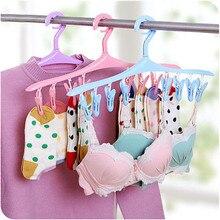 8 Clips Plastic Hangers Underwear Socks Bra Dryer Hook Rack Clothes Hanging Drying Racks