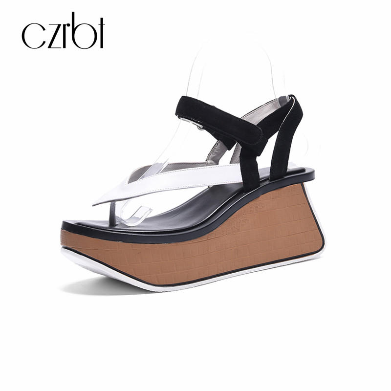 CZRBT 2018 Summer Women Sandals Gladiator High Platform Wedges Beach Sandal Ladies Sweet Ankle-Strap Flip Flops Casual Shoes female gladiator wedges sandal hallow out platforms high wedge shoes women rivets summer sandal beach vintage women size 34 39