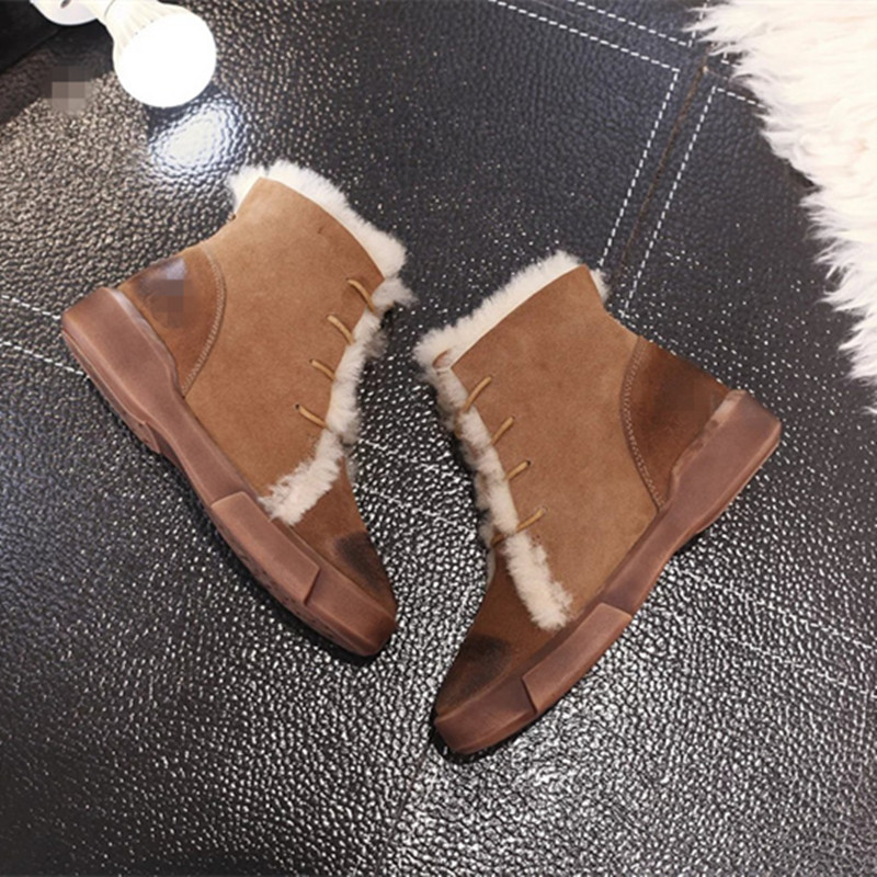 2016 Autumn/Winter Shoes Woman Cow Leather Snow Boots Wool Shearling Lace Up Casual Flats Luxury Design Casual Mujer Ankle Boots new winter autumn brand luxury women shoes flats suede leather warm snow casual zapatillas mujer plush timber shoes for lady