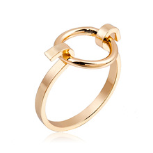 Simple Stainless Steel Black Rings for Women Geometric Silver Round Circle Texture Knuckle Ring Wedding Jewelry