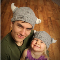 2Pieces Set Parentage Clothes Hats Horns Knitted Mens Adults And Children Boys Girls Knitting Caps Gift