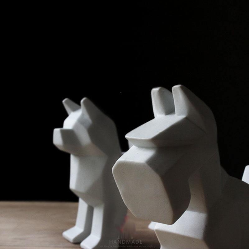 Exquise mignon fait à la main en céramique pour animaux de compagnie chien statue décoration Schnauzer Schnauzer sculpture ameublement-in Statues et sculptures from Maison & Animalerie    3